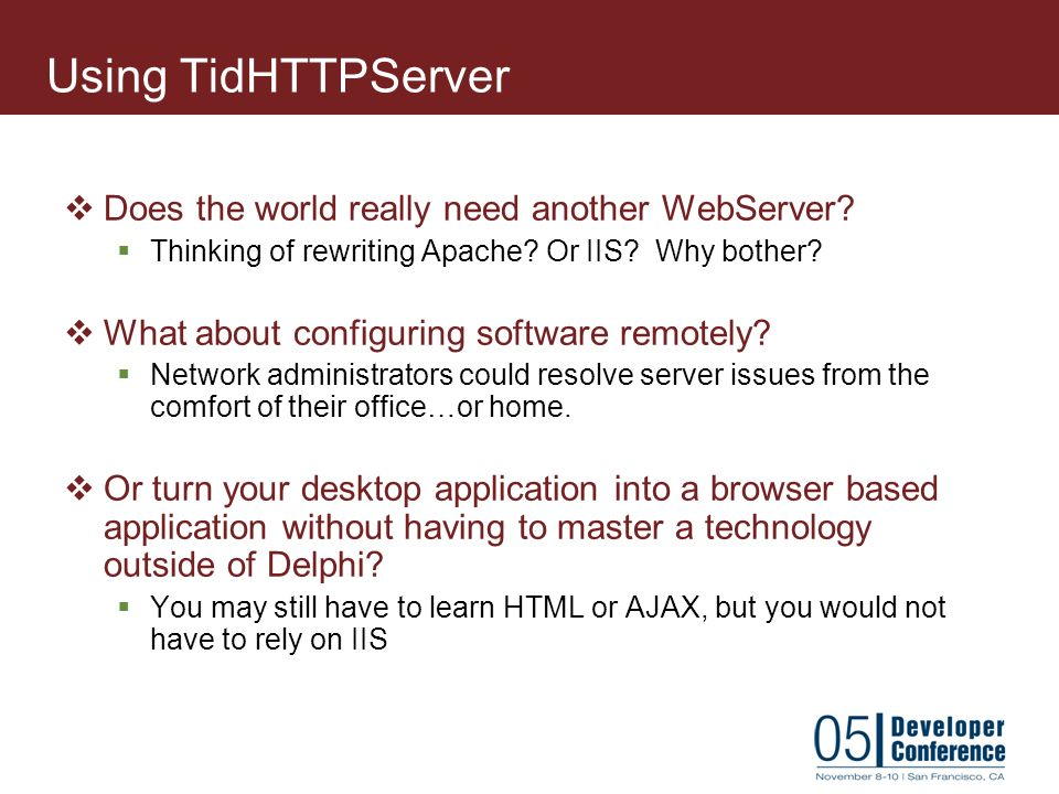 Developing TCP/IP-based Server Applications using Indy