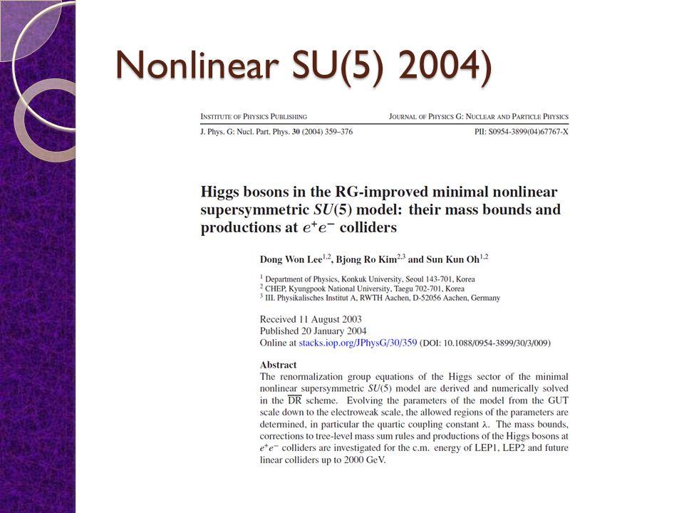Nonlinear Supersymmetric Higgs bosons Sun Kun Oh (Konkuk Univ) APCTP