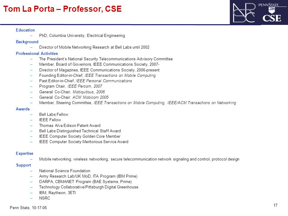 0 Penn State, Networking and Security Research Center Professor