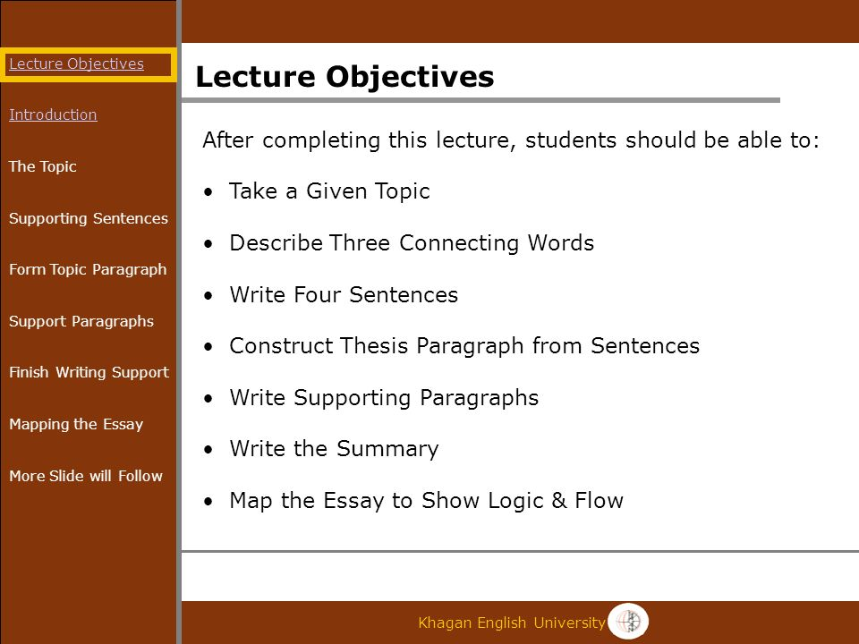 khagan english university khagan english essay writing dr david   khagan english university lecture objectives after completing this  lecture students should be able to take a given topic describe three  connecting words