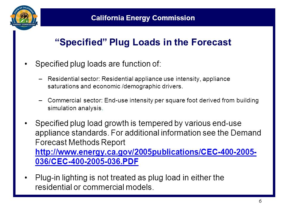 California Energy Commission Plug Loads in the Residential
