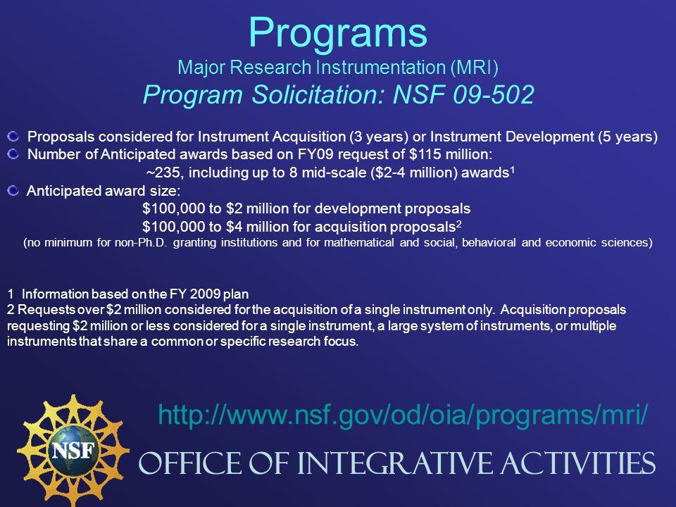 National Science Foundation Major Research Instrumentation Mri