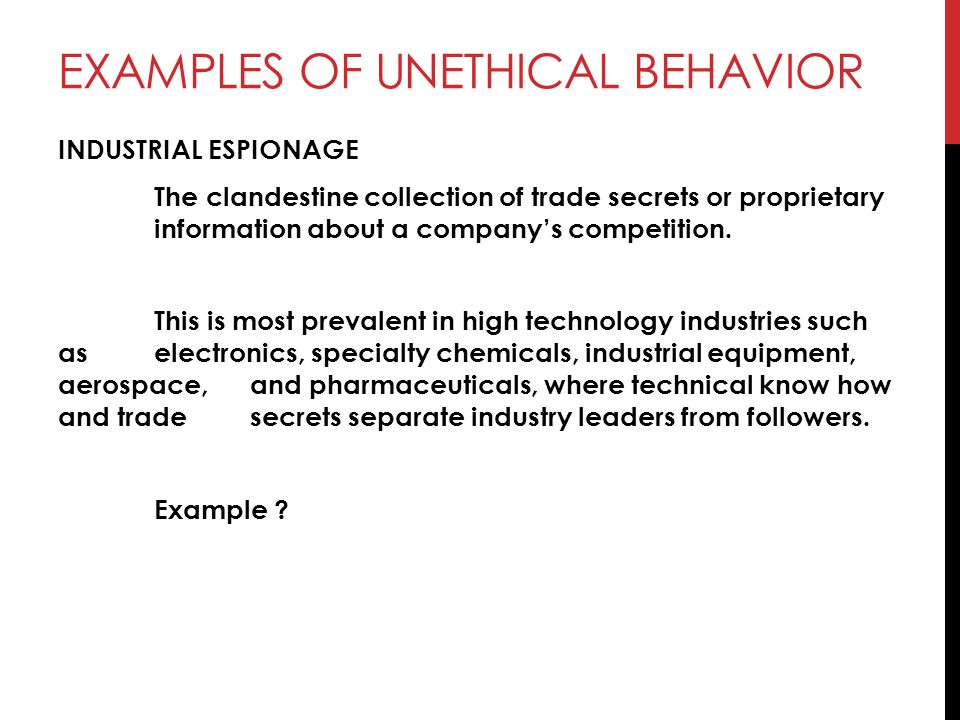 Unethical behavior essay.