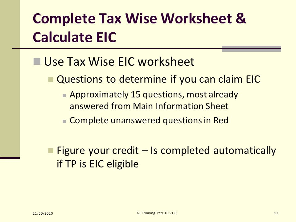 Earned Income Credit …a refundable credit to low income TP ...