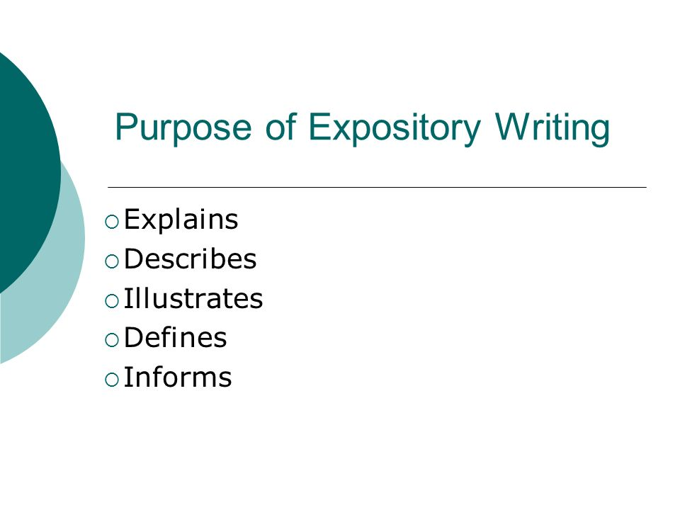 Purpose of Expository Writing  Explains  Describes  Illustrates  Defines  Informs