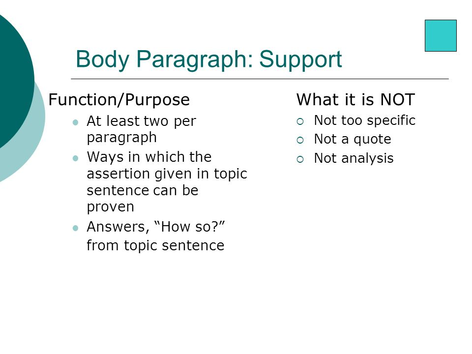 Body Paragraph: Support What it is NOT  Not too specific  Not a quote  Not analysis Function/Purpose At least two per paragraph Ways in which the assertion given in topic sentence can be proven Answers, How so from topic sentence