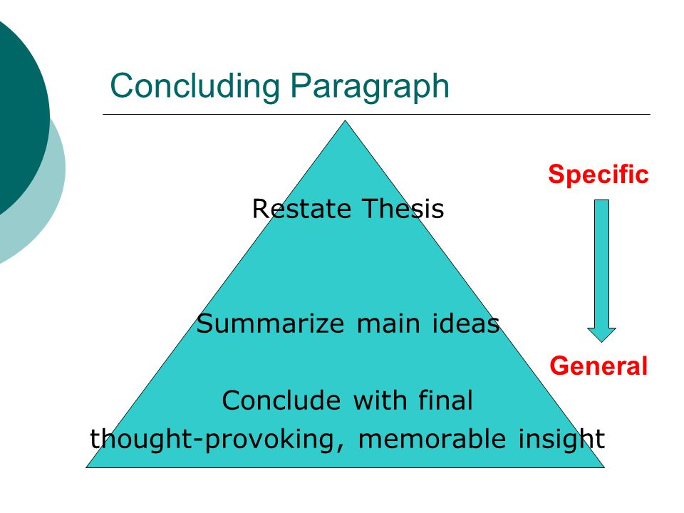 Concluding Paragraph Restate Thesis Summarize main ideas Conclude with final thought-provoking, memorable insight Specific General