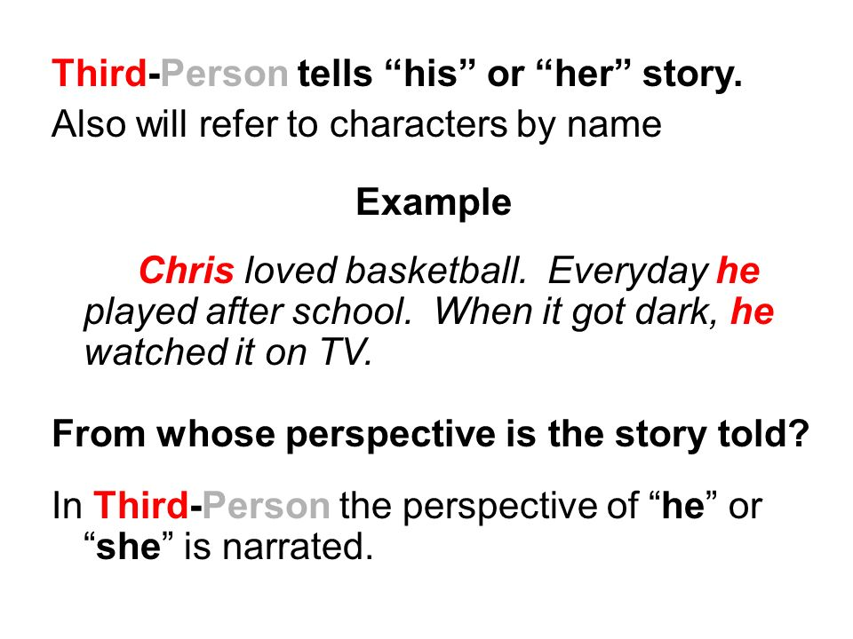 Third-Person tells his or her story.
