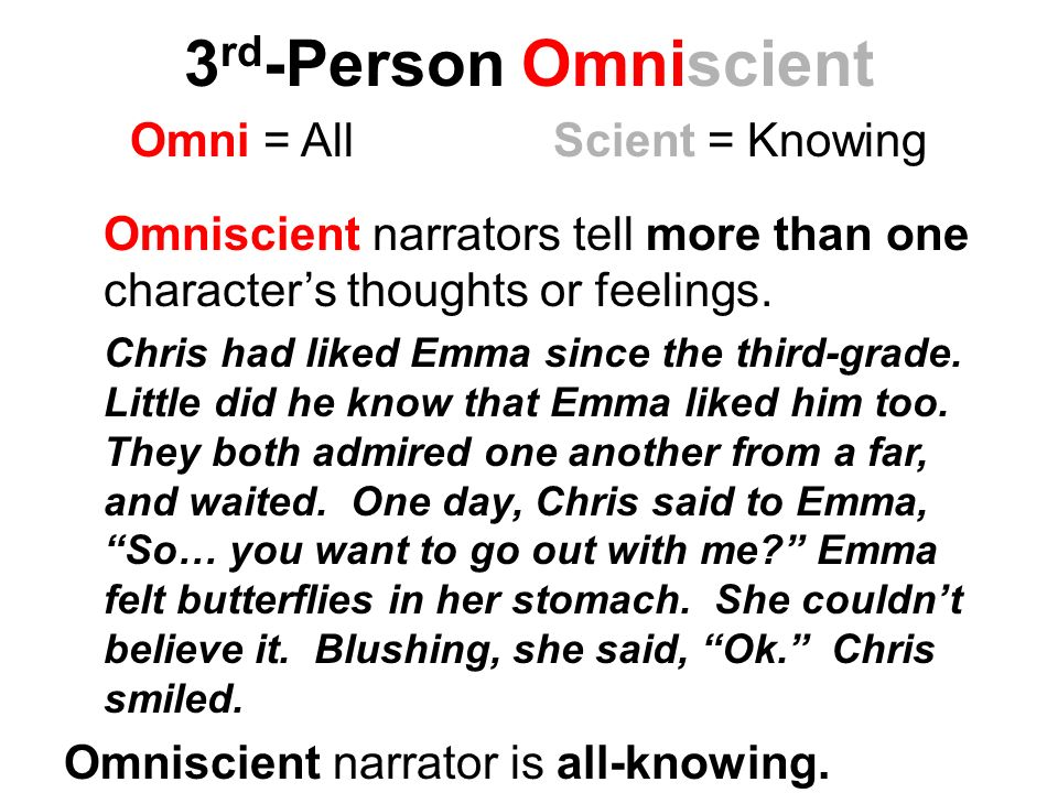 3 rd -Person Omniscient Omni = AllScient = Knowing Omniscient narrators tell more than one character's thoughts or feelings.