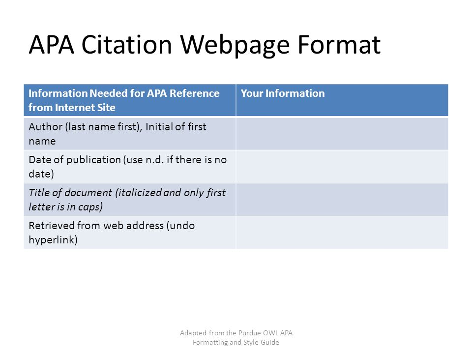 Apa Formatting And Style Guide Adapted From The Purdue Owl