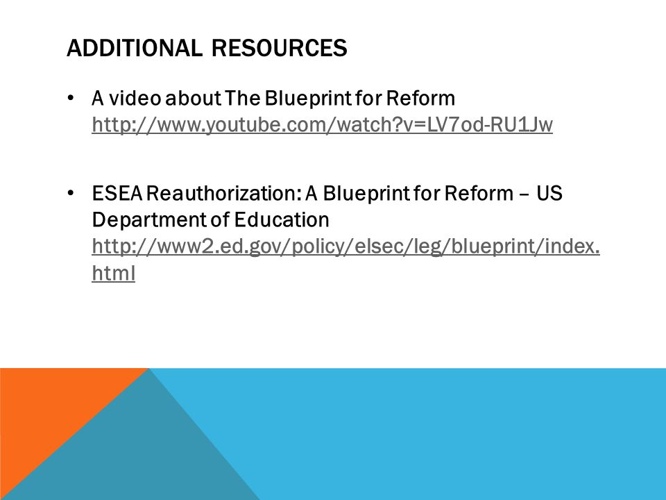 A blueprint for reform presented by julia renberg edle ppt download additional resources a video about the blueprint for reform httpyoutube malvernweather Image collections