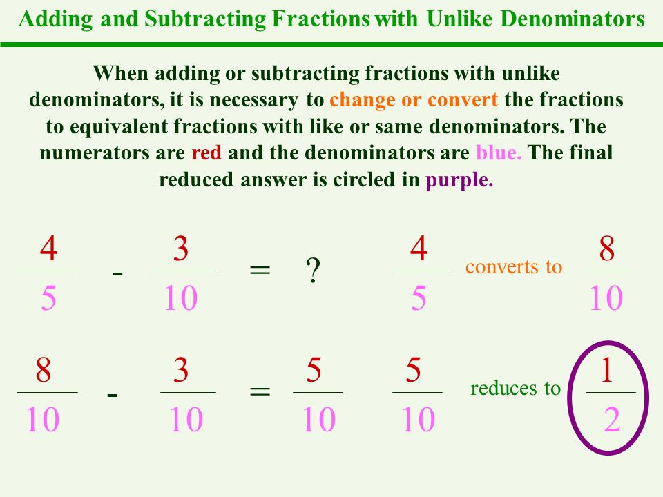 Adding Like Fractions. Main Idea/Vocabulary like fractions ...