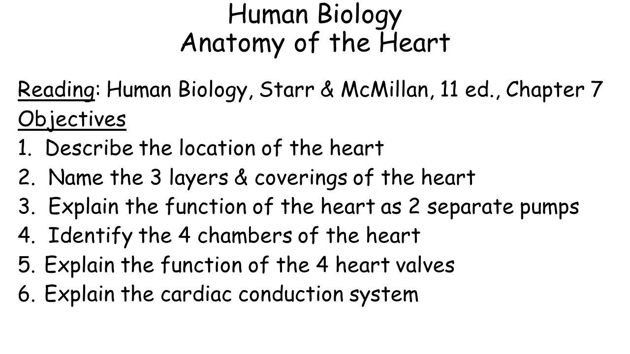 Human Biology Anatomy Of The Heart Reading Human Biology Starr