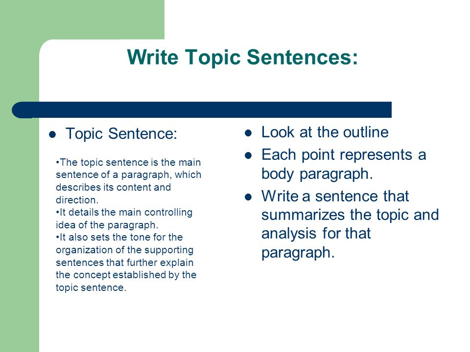 Write Topic Sentences: Topic Sentence: Look at the outline Each point represents a body paragraph.