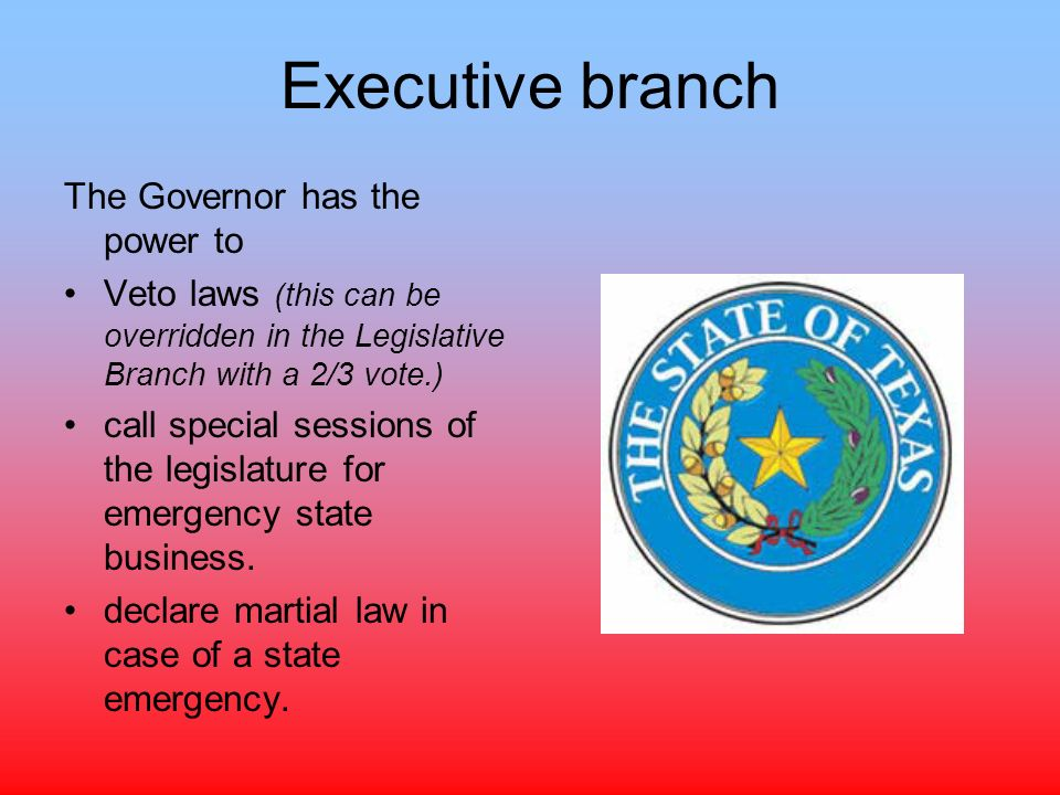 three branches of the texas government In the discussion of the legislative branch, the narrator discusses the composition of the house and senate, qualifications to run for office, leadership structure, and the functions of each.