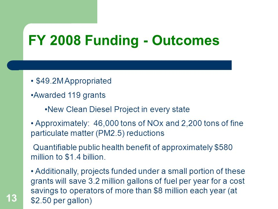 13 FY 2008 Funding - Outcomes $49.2M Appropriated Awarded 119 grants New Clean Diesel Project in every state Approximately: 46,000 tons of NOx and 2,200 tons of fine particulate matter (PM2.5) reductions Quantifiable public health benefit of approximately $580 million to $1.4 billion.