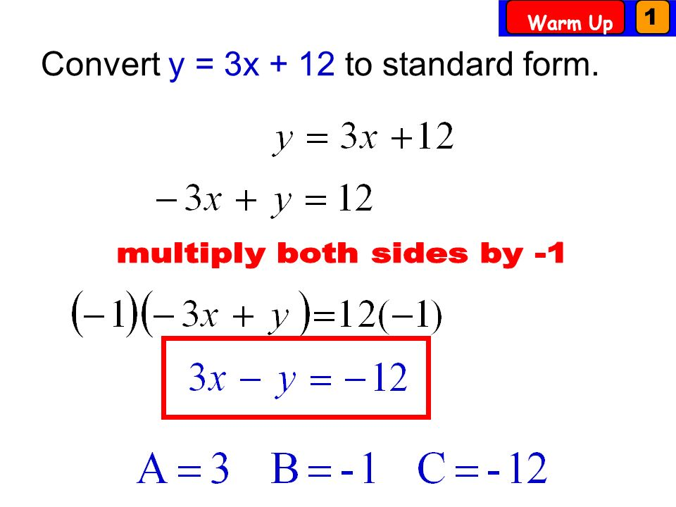 Wed 15 Swbat Write Equations Using Standard And Point Slope Form