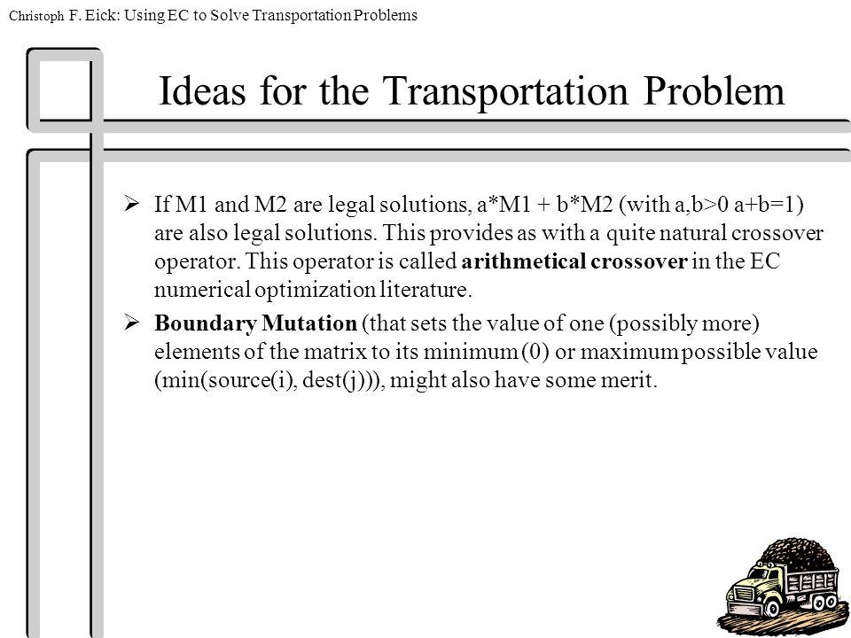 Christoph F  Eick: Using EC to Solve Transportation Problems