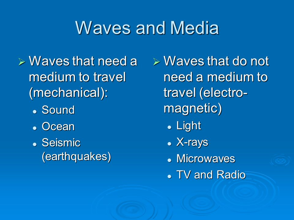 Waves and Media  Waves that need a medium to travel (mechanical): Sound Sound Ocean Ocean Seismic (earthquakes) Seismic (earthquakes)  Waves that do not need a medium to travel (electro- magnetic) Light X-rays Microwaves TV and Radio
