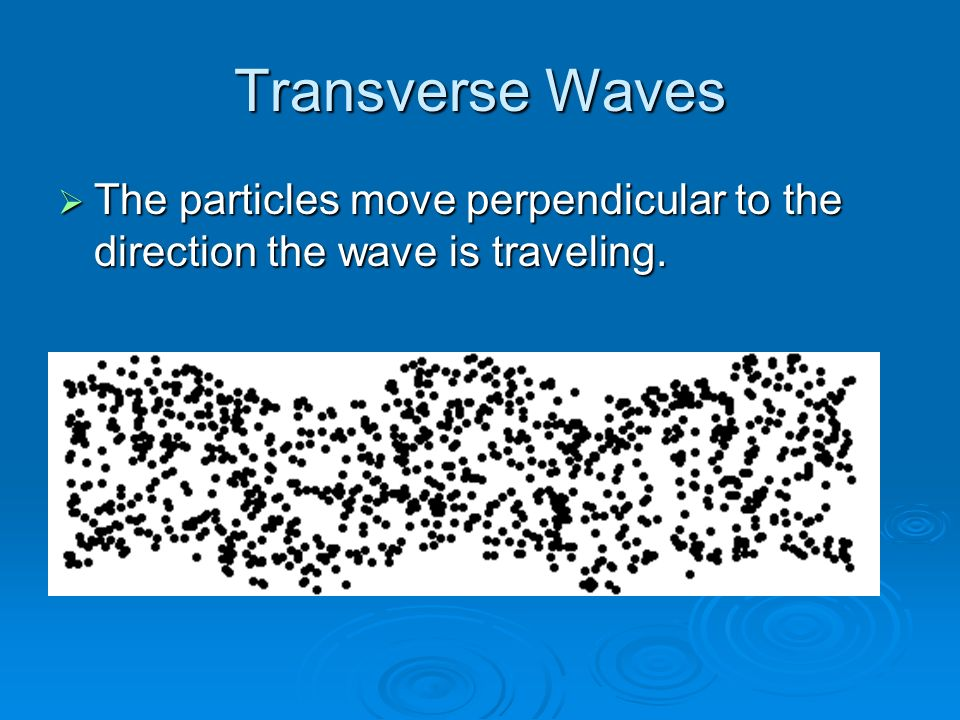 Transverse Waves  The particles move perpendicular to the direction the wave is traveling.