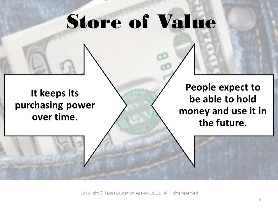Store of Value It keeps its purchasing power over time.