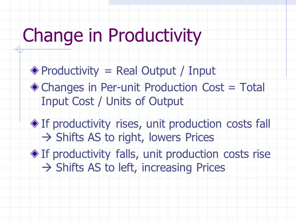 Change in Productivity Productivity = Real Output / Input Changes in Per-unit Production Cost = Total Input Cost / Units of Output If productivity rises, unit production costs fall  Shifts AS to right, lowers Prices If productivity falls, unit production costs rise  Shifts AS to left, increasing Prices