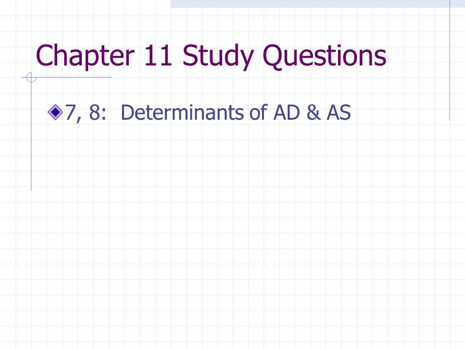 Chapter 11 Study Questions 7, 8: Determinants of AD & AS