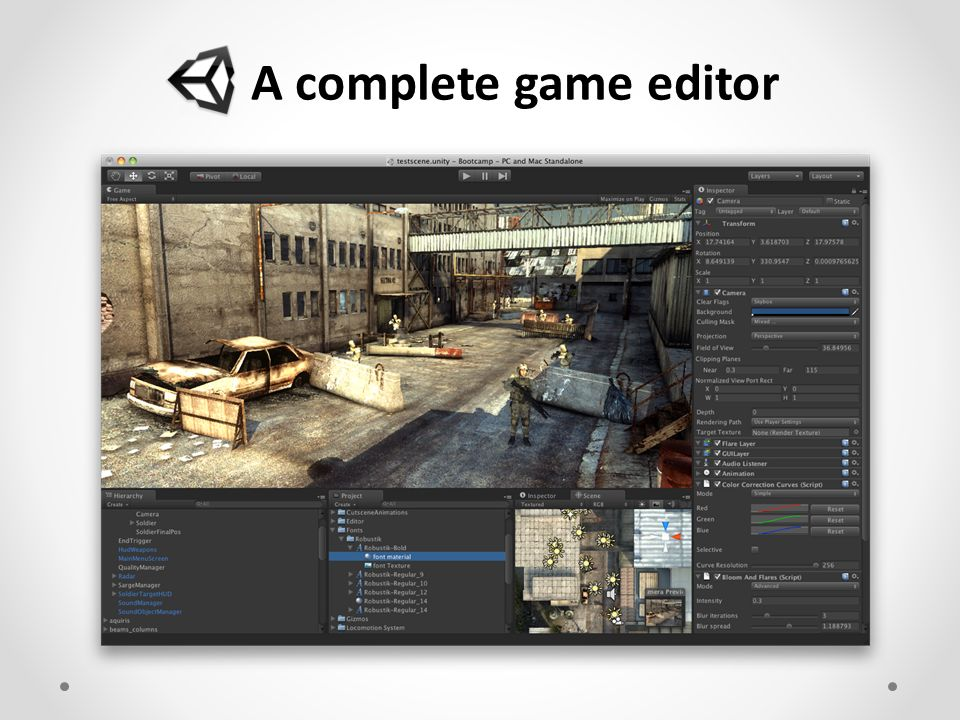 A complete game editor Unity 3D 2D/3D game/rendering engine