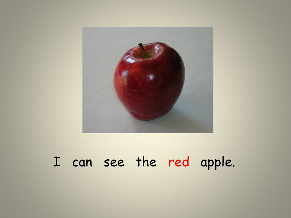 I can see the red apple.