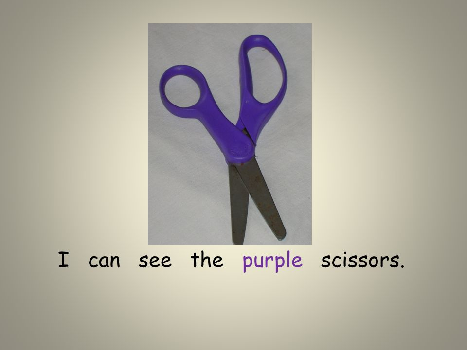 I can see the purple scissors.