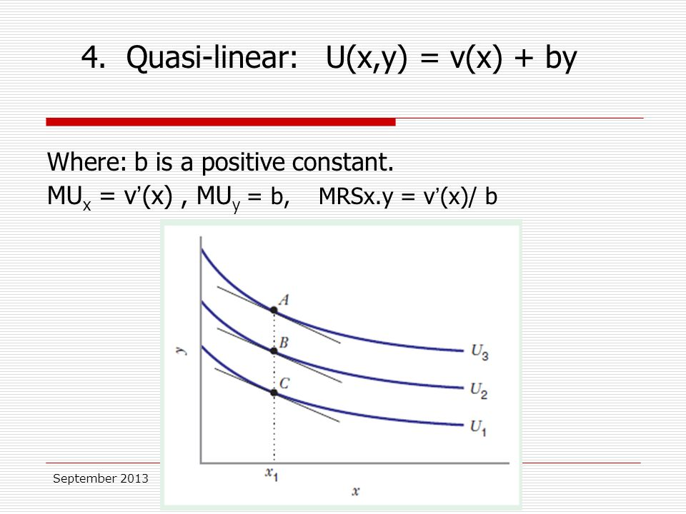 September 2013 Where: b is a positive constant. MU x = v'(x), MU y = b, MRSx.y = v'(x)/ b 4.
