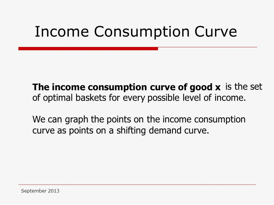 September 2013 is the set of optimal baskets for every possible level of income.
