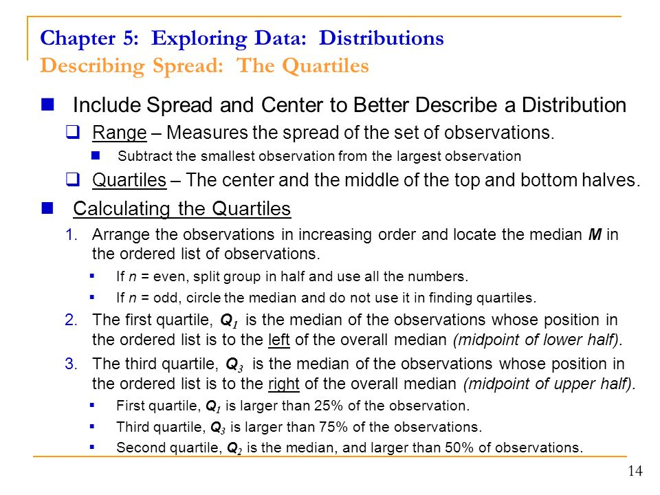 14 Include Spread and Center to Better Describe a Distribution  Range – Measures the spread of the set of observations.