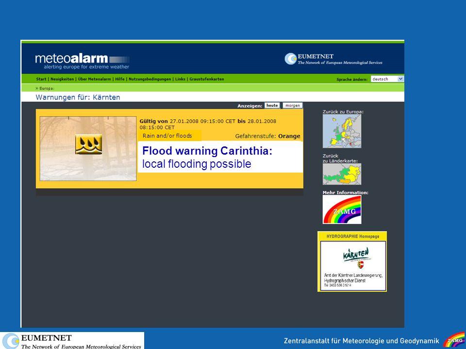 25 Flood warning Carinthia  local flooding possible Rain and or floods 8b2c83c0dfd