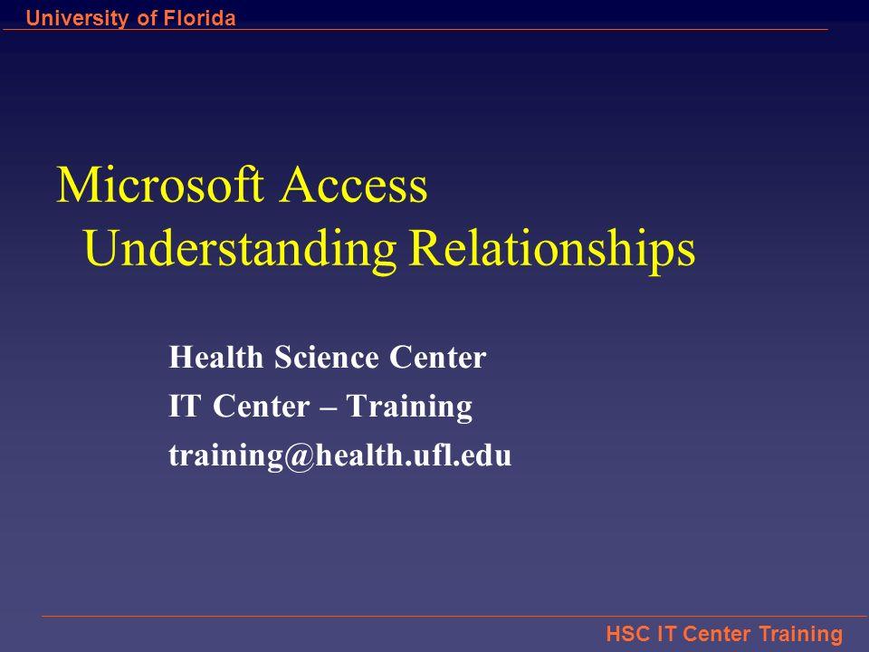 Hsc It Center Training University Of Florida Microsoft Access