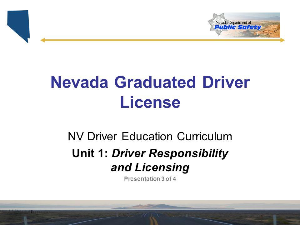 Nevada Graduated Driver License Nv Driver Education Curriculum Unit