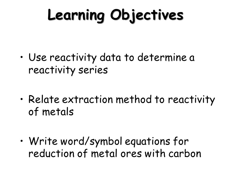 Metals Learning Objectives Use Reactivity Data To Determine A