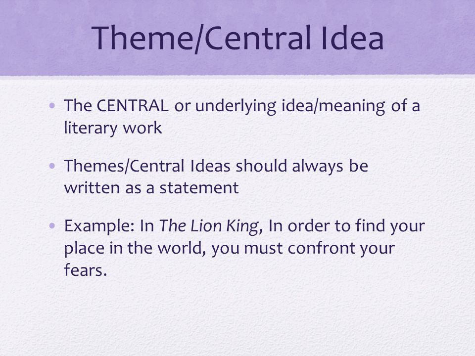 main idea meaning and examples