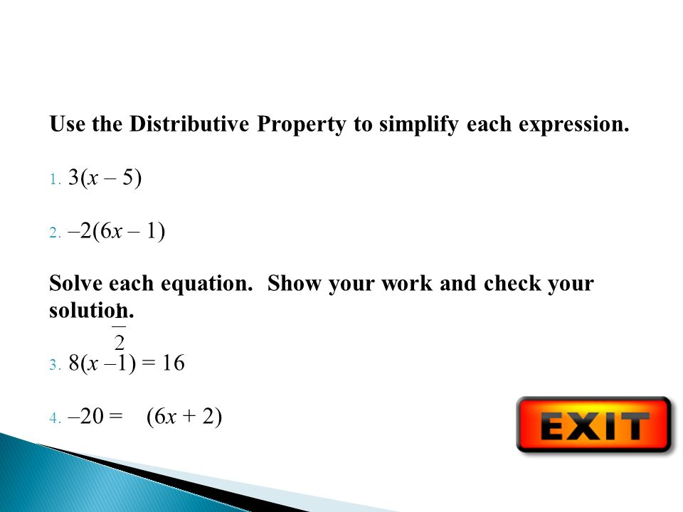 Use the Distributive Property to simplify each expression.
