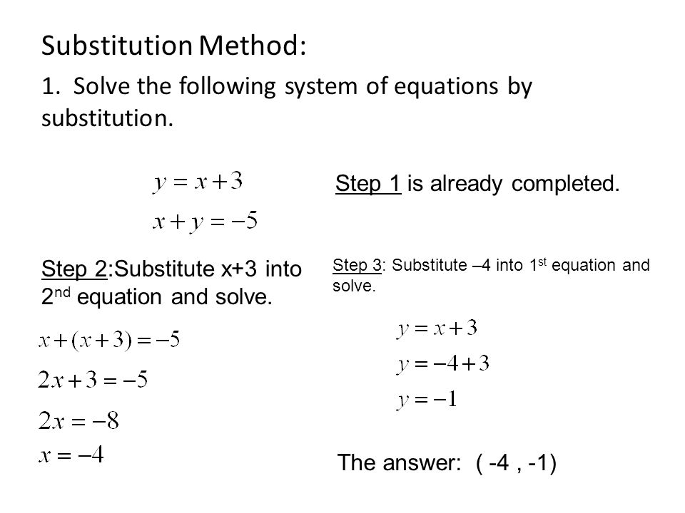 Substitution Method: 1. Solve the following system of equations by substitution.