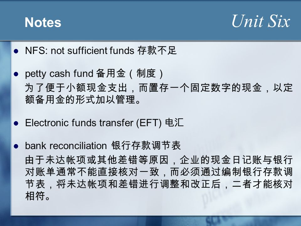 Cash Unit Six  Learning Objectives Unit Six to understand
