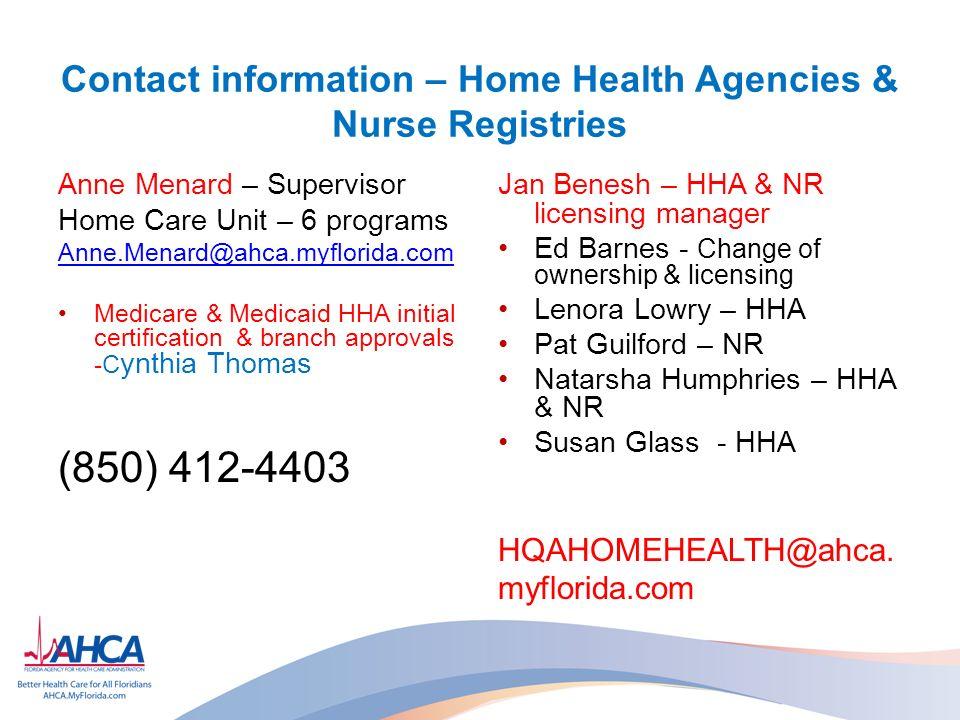 Ahca Home Health Regulatory Update Anne Menard Home Care Unit Bureau