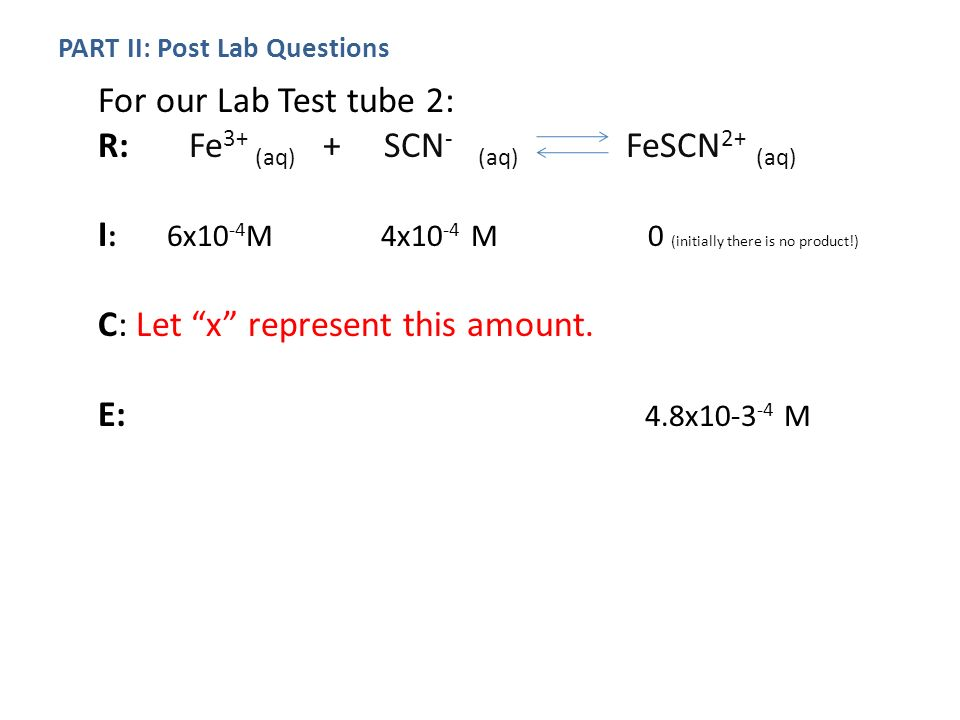 Colorimetric Analysis & Determination of the Equilibrium for a ...