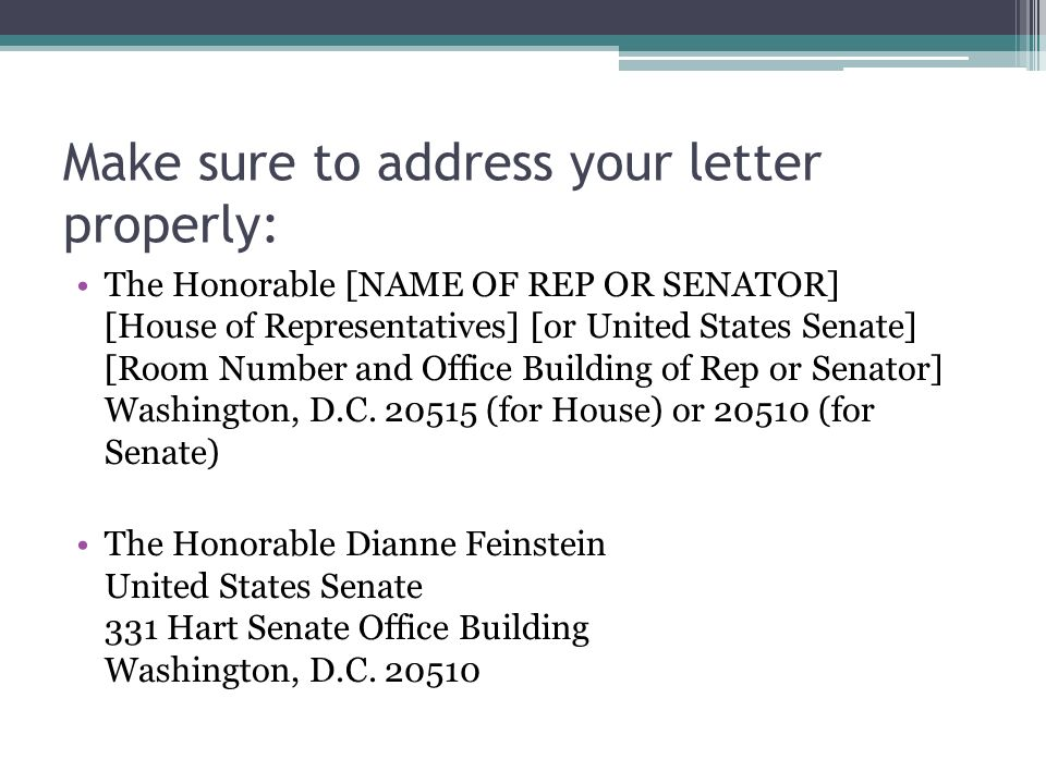 How to write a member of Congress Barbara Boxer Dianne Feinstein