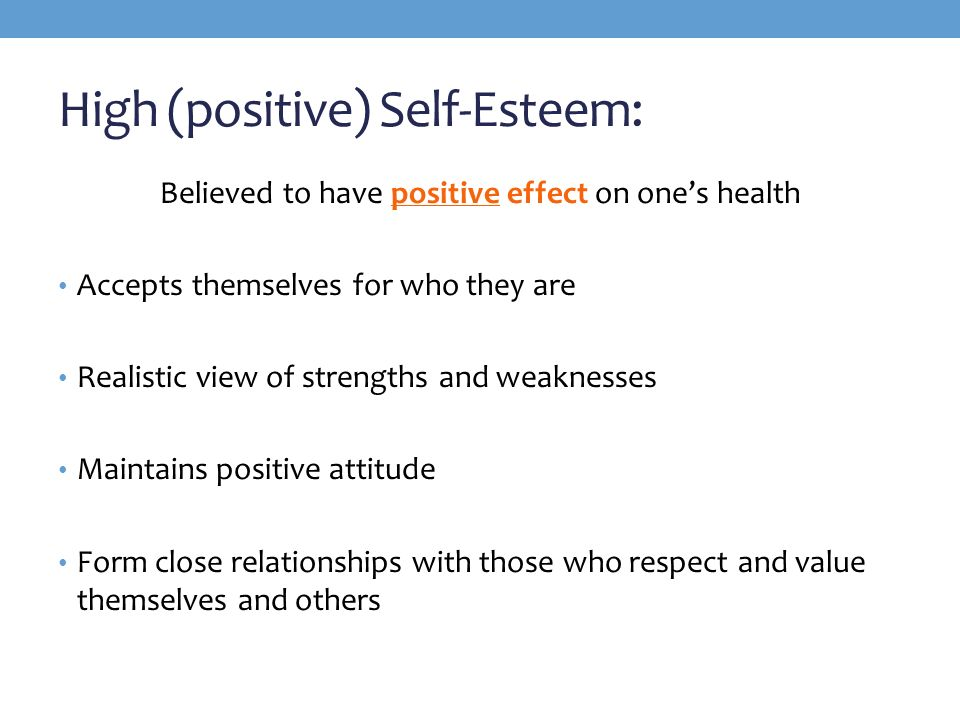 positive self esteem can lead to positive interactions and connections with others 2018-10-8 children who can better cope with frustrations and challenges are more likely to think of themselves as successful, valuable, and good, which will lead to a higher self-esteem in contrast, children who become easily frustrated and discouraged, often quit or.