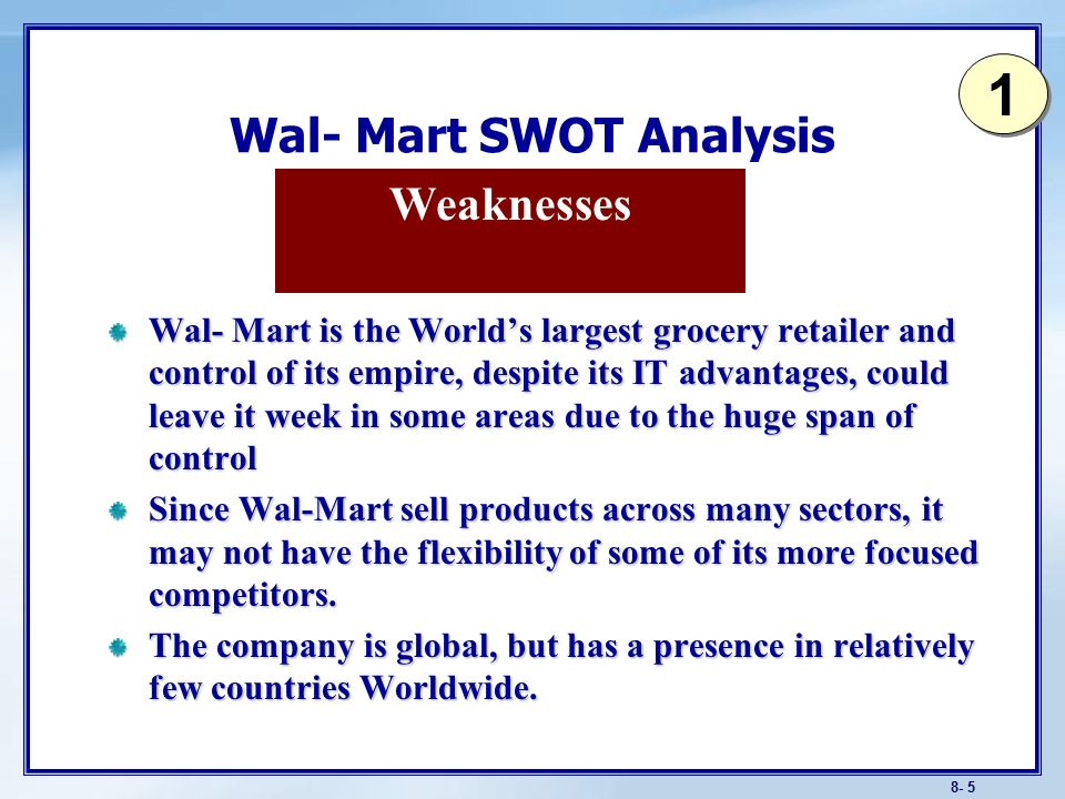 8- 0 Learning Objective Explain the components of a SWOT