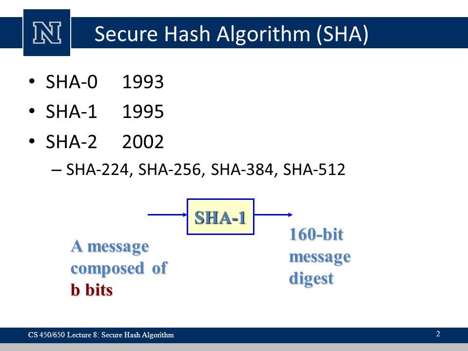 Lecture 8 Overview  Secure Hash Algorithm (SHA) SHA SHA SHA