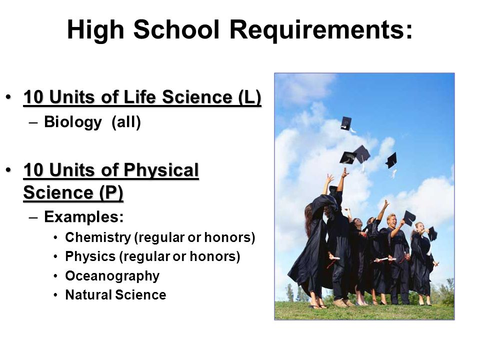 Science Selection 10 th and 11 th grade  High School Requirements