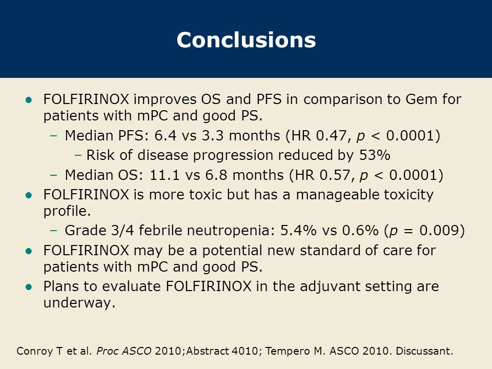 Conclusions FOLFIRINOX improves OS and PFS in comparison to Gem for patients with mPC and good PS.