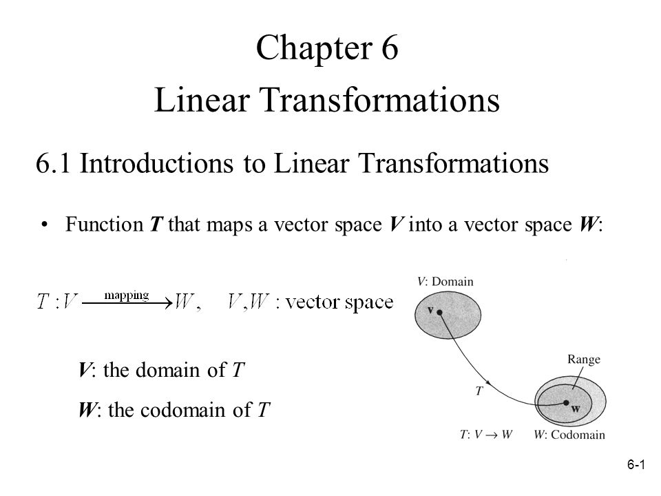 Introductions to Linear Transformations Function T that maps a